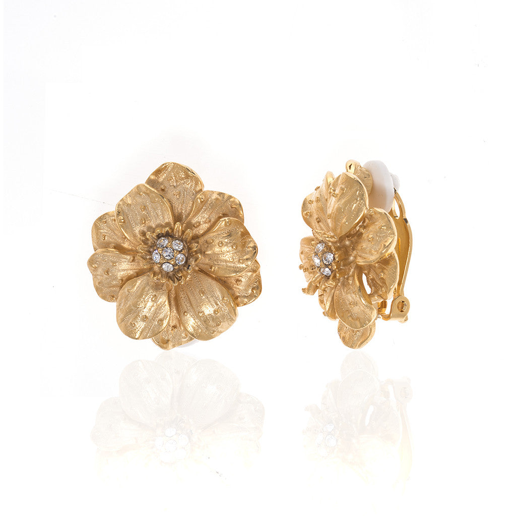 Goldtone Double Rose Small Pierced Earrings