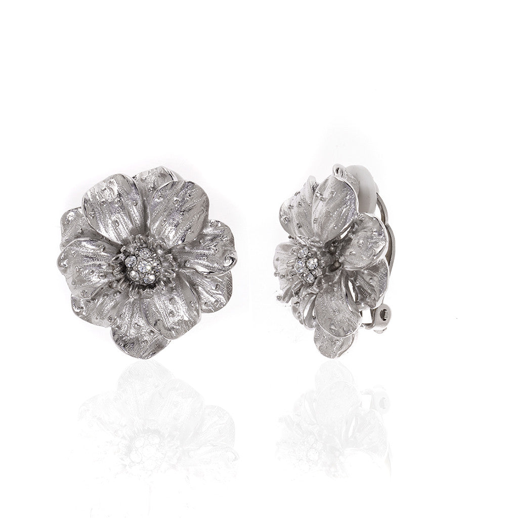 Double Rose Silvertone Large Clip Earrings