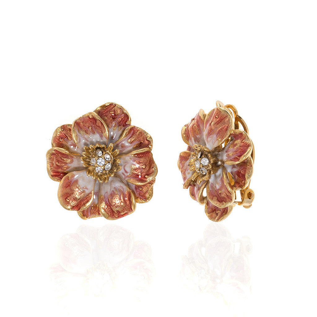 Double Rose Clip Earring With Melon Flower