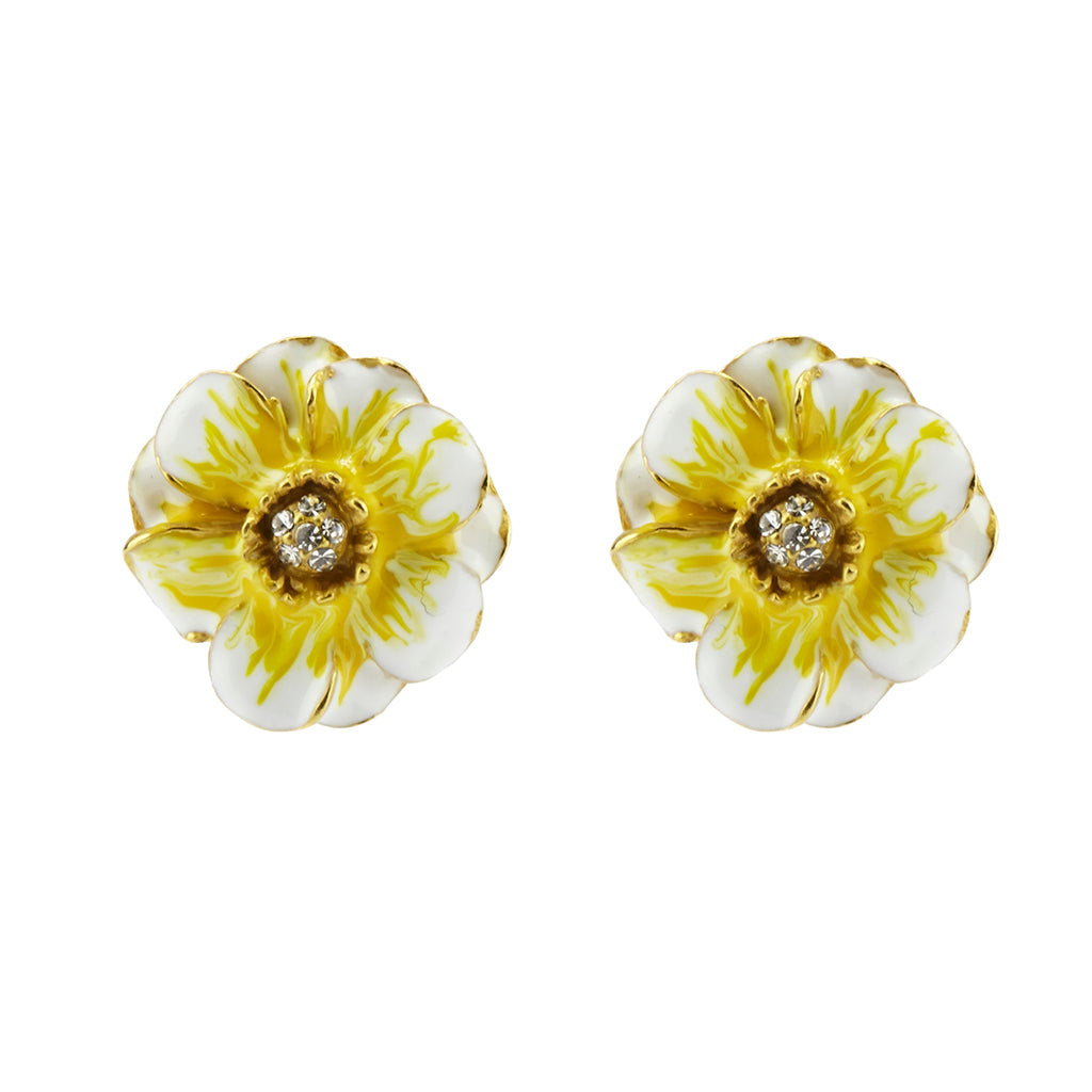 Goldtone White/Yellow Les Roses Pierced Earrings