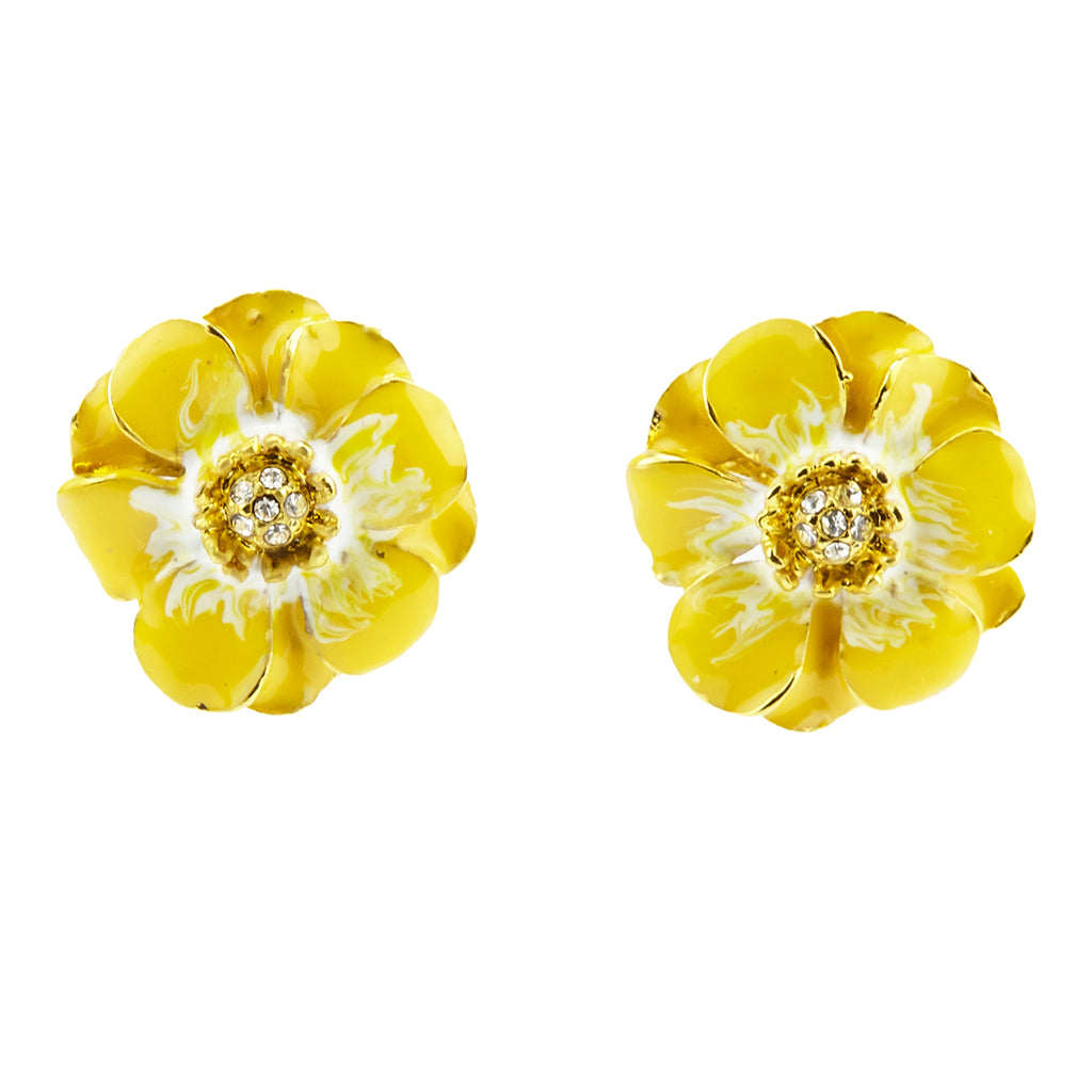 Goldtone Yellow/White Les Roses Pierced Earrings
