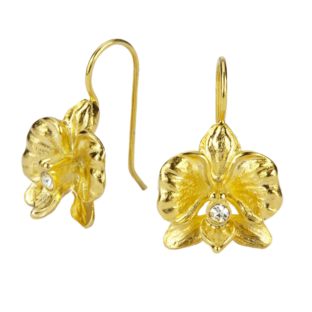 Goldtone Orchid With Crystal Drop Earrings