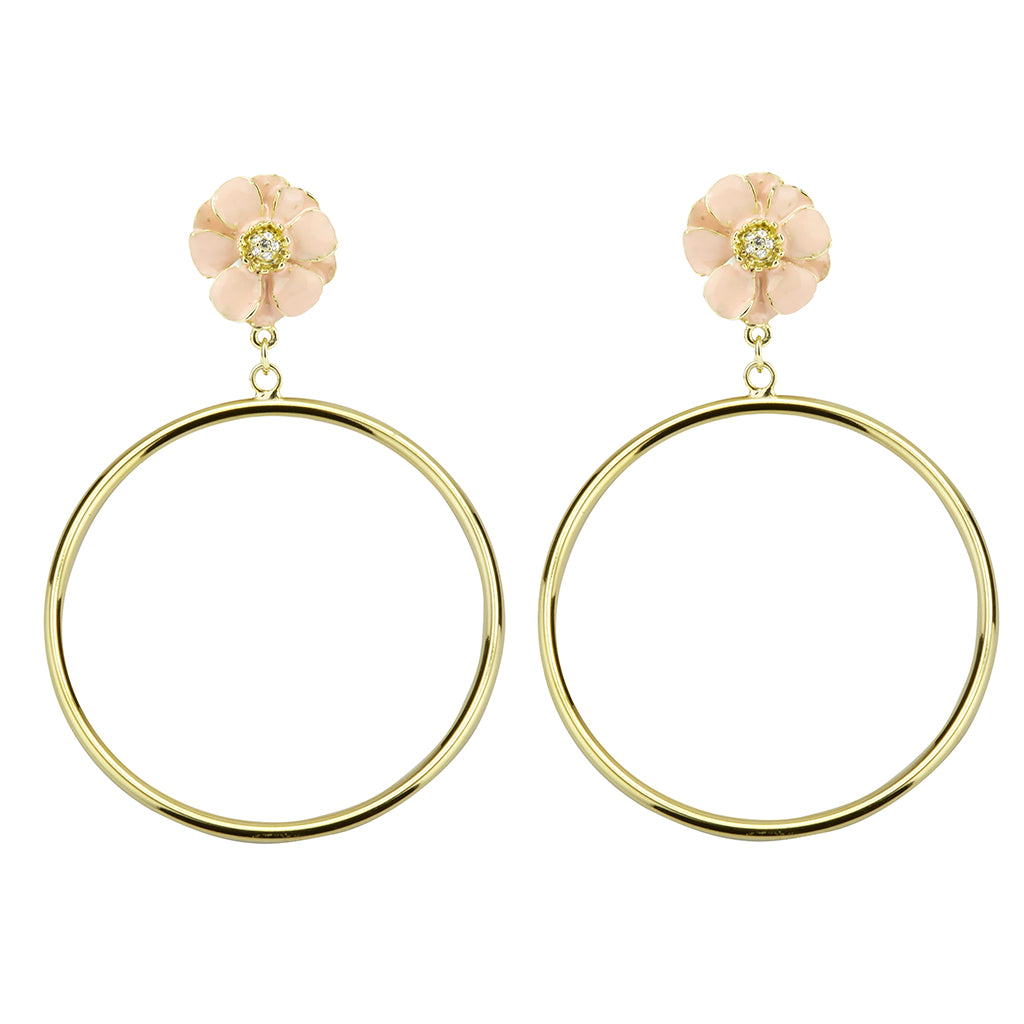 Goldtone Pink Les Roses Hoop Earrings