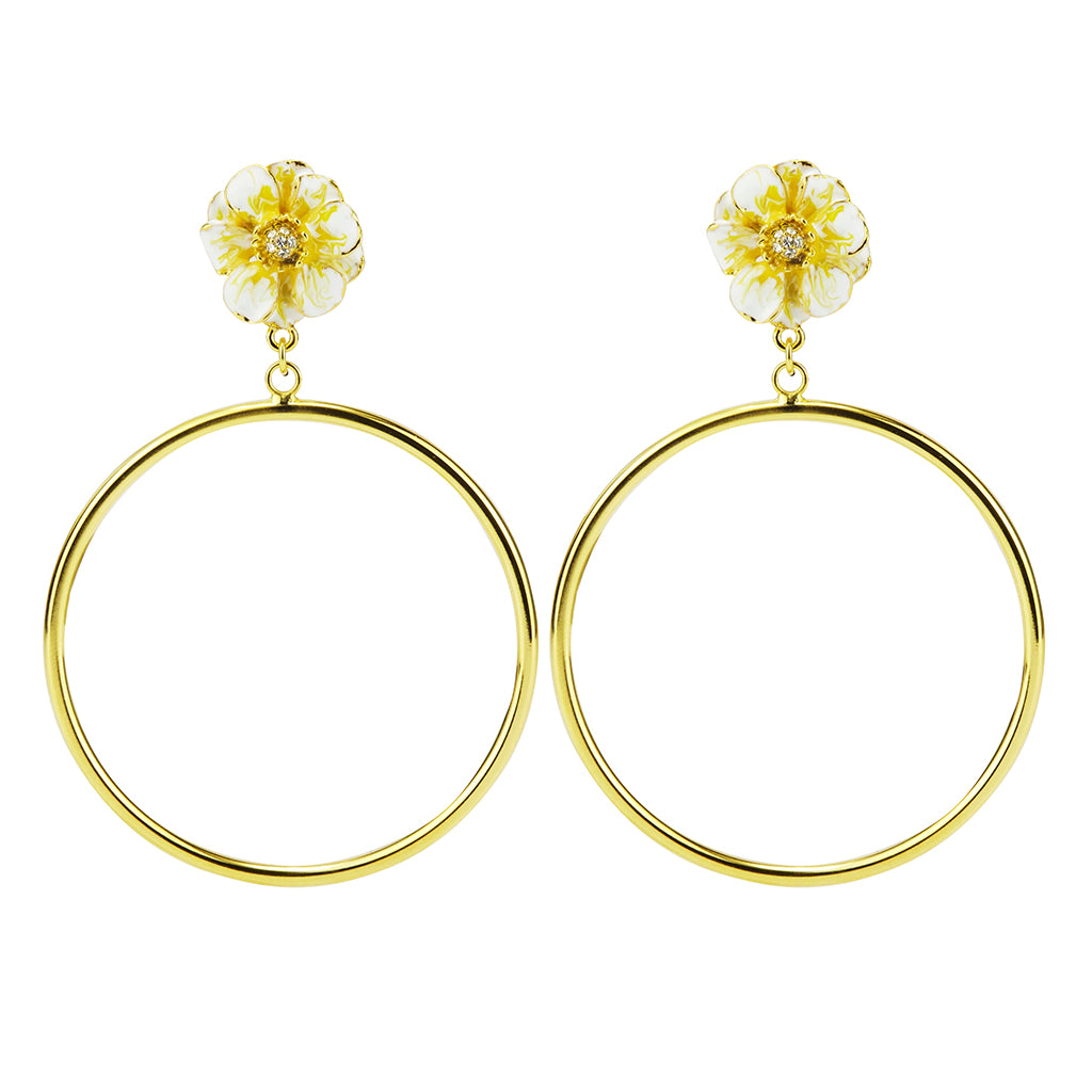 Goldtone White/Yellow Les Roses Hoop Earrings