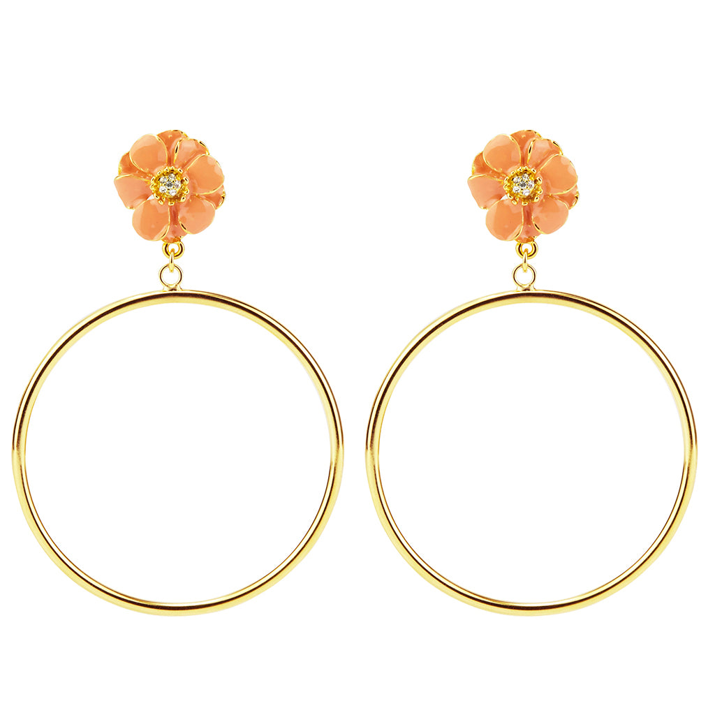 Goldtone Coral Les Roses Hoop Earrings