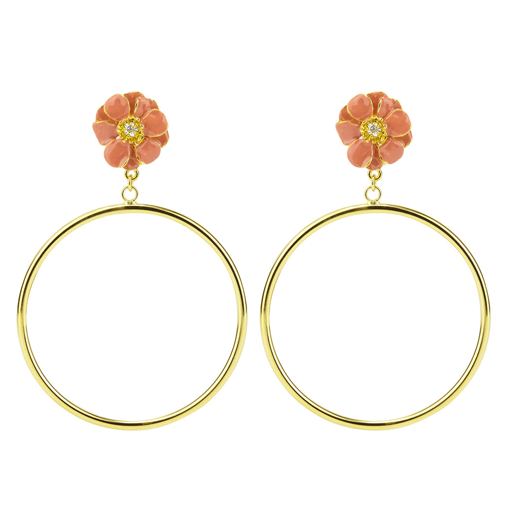 Goldtone Dark Pink Les Roses Hoop Earrings