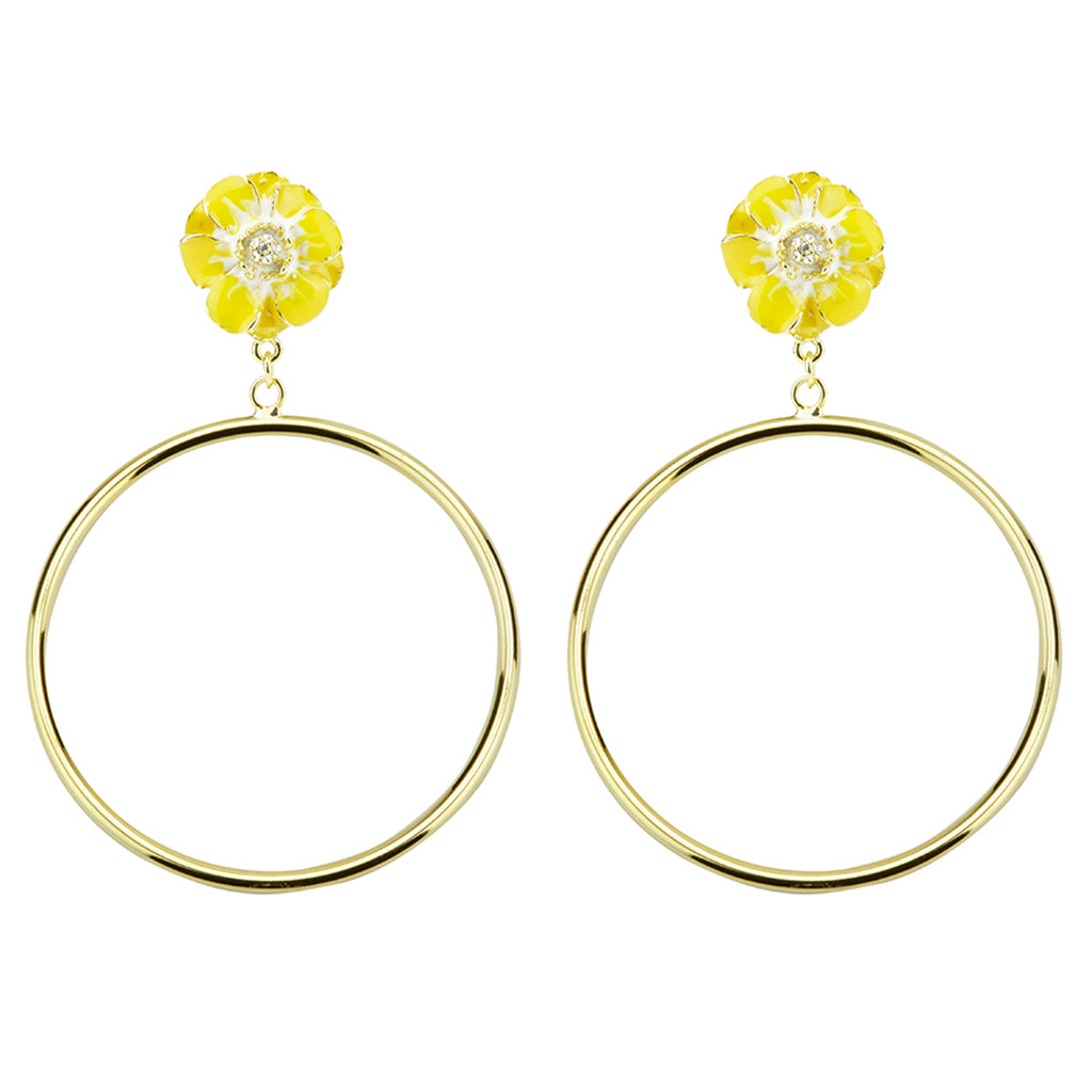 Goldtone Yellow/White Les Roses Hoop Earrings