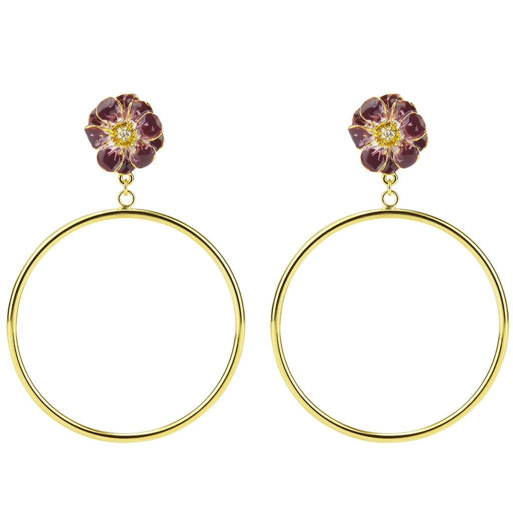Goldtone Purple Les Roses Hoop Earrings