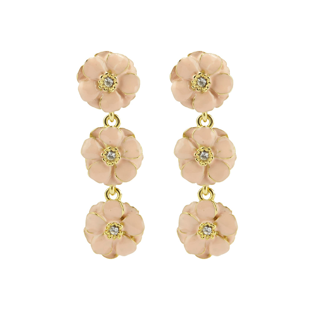 Goldtone Pink Les Roses Triple Drop Earrings