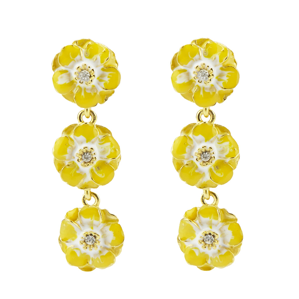 Goldtone Yellow/White Les Roses Triple Drop Earrings