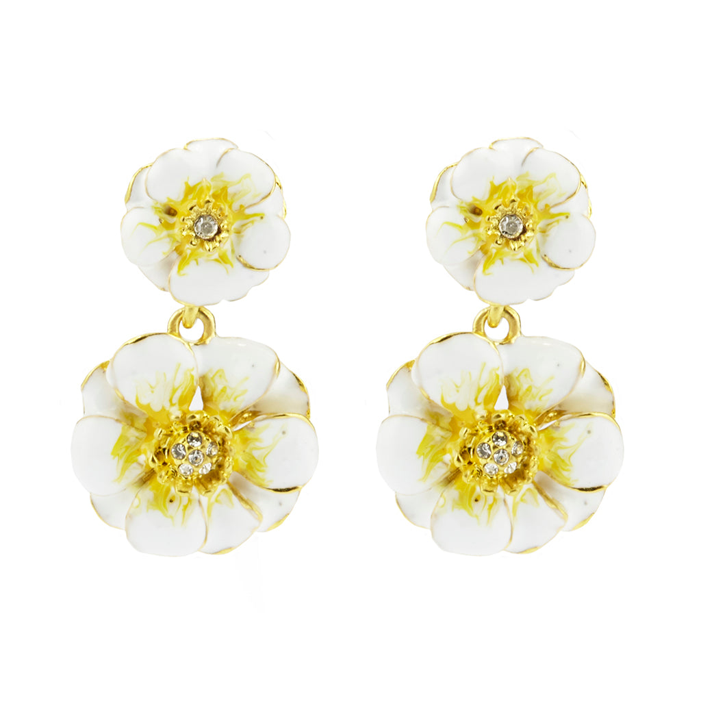 Goldtone White/Yellow Les Roses Double Drop Earrings