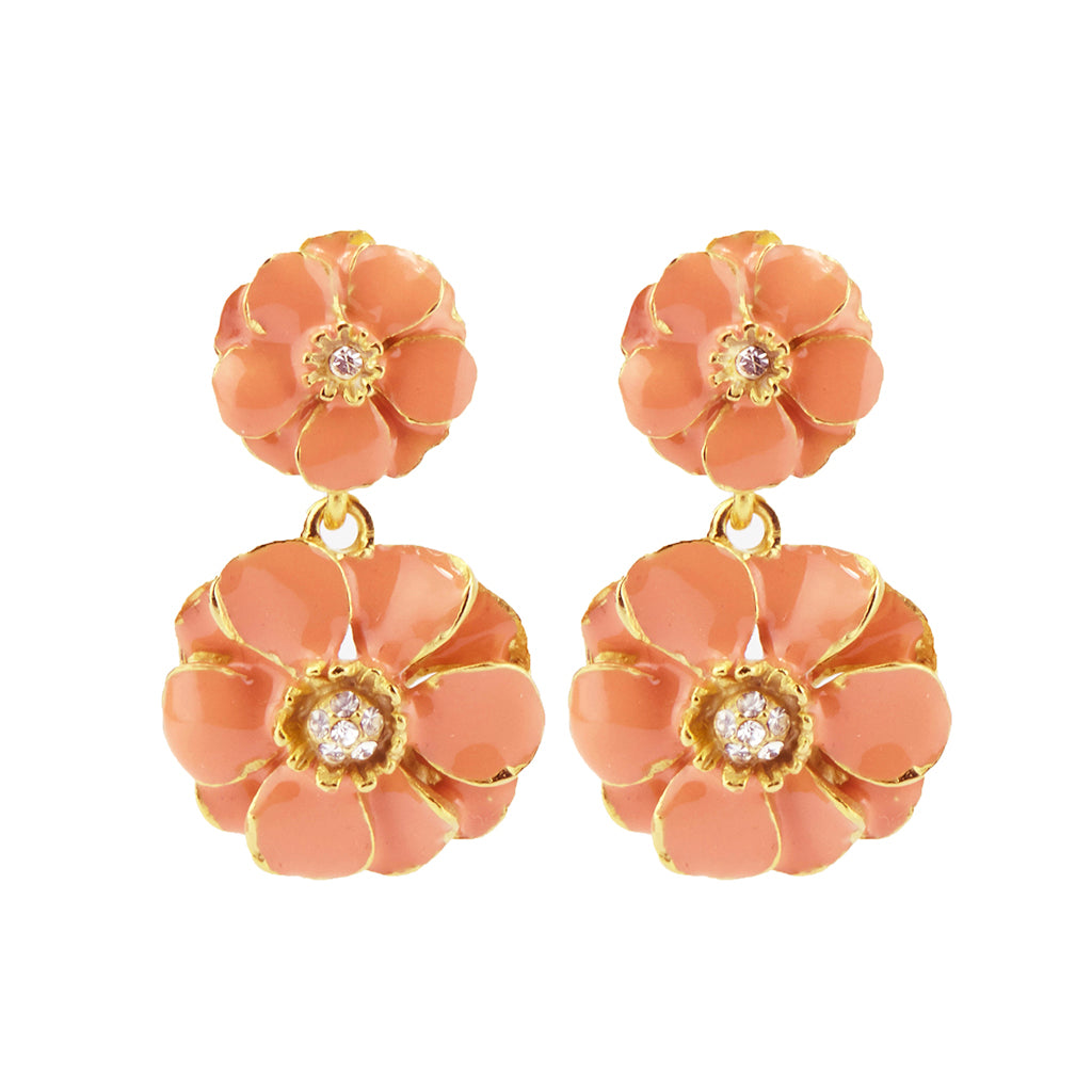 Goldtone Coral Les Roses Double Drop Earrings