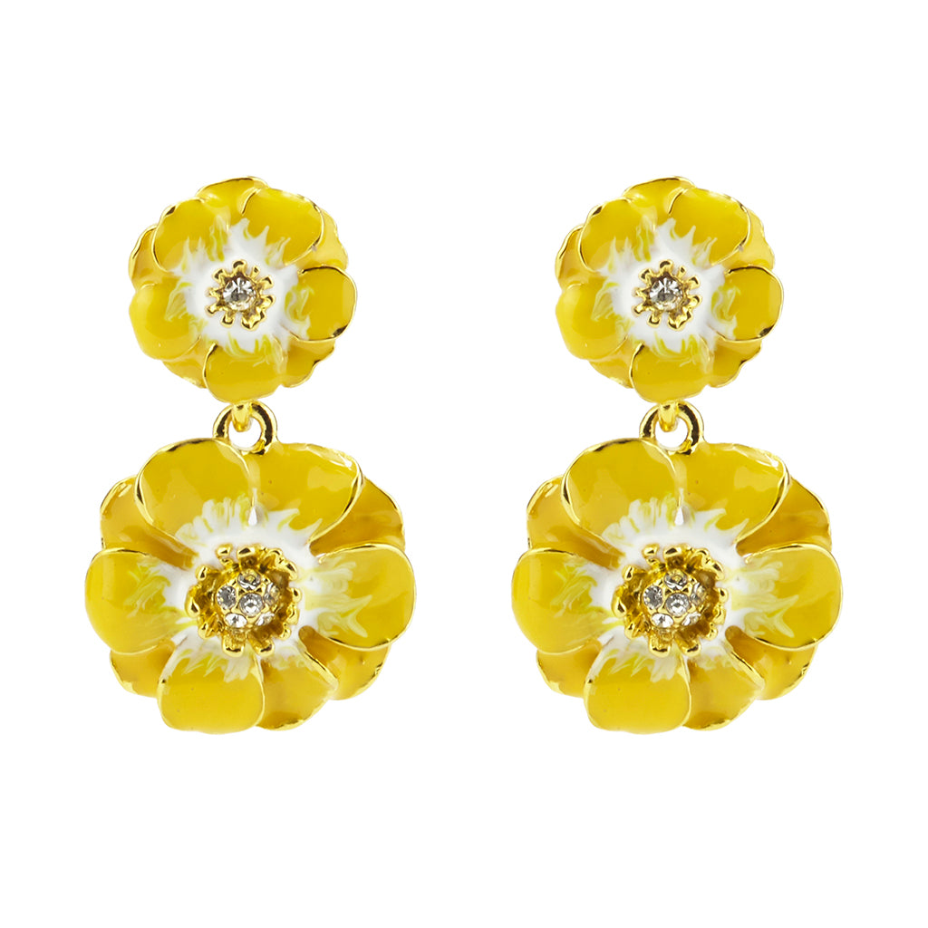 Goldtone Yellow/White Les Roses Double Drop Earrings