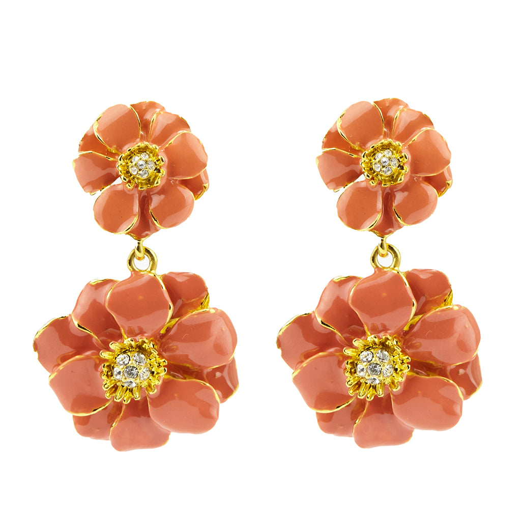 Les Roses Gold Tone Dark Pink Drop Earrings