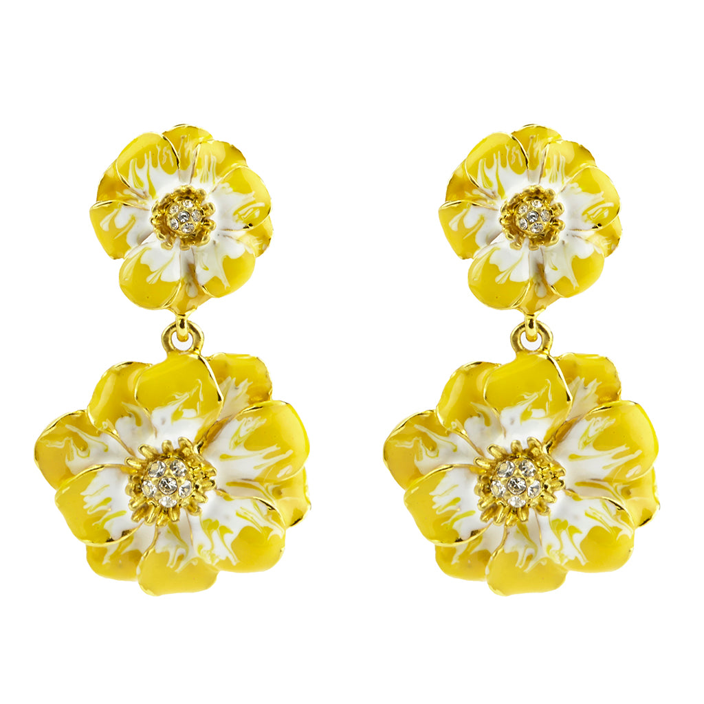 Les Roses Gold Tone Yellow White Drop Earrings