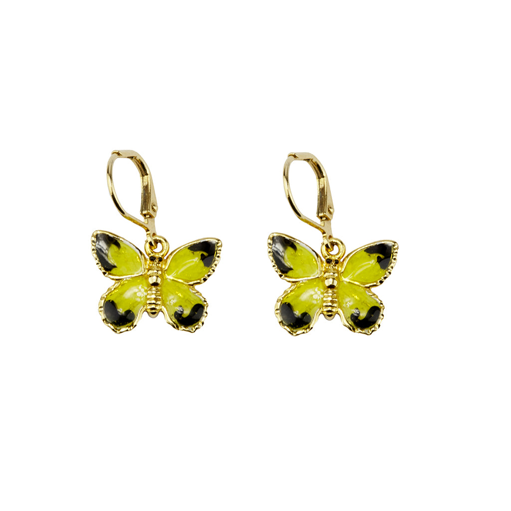 22k Gold-Plated Yellow Butterfly Drop Earring