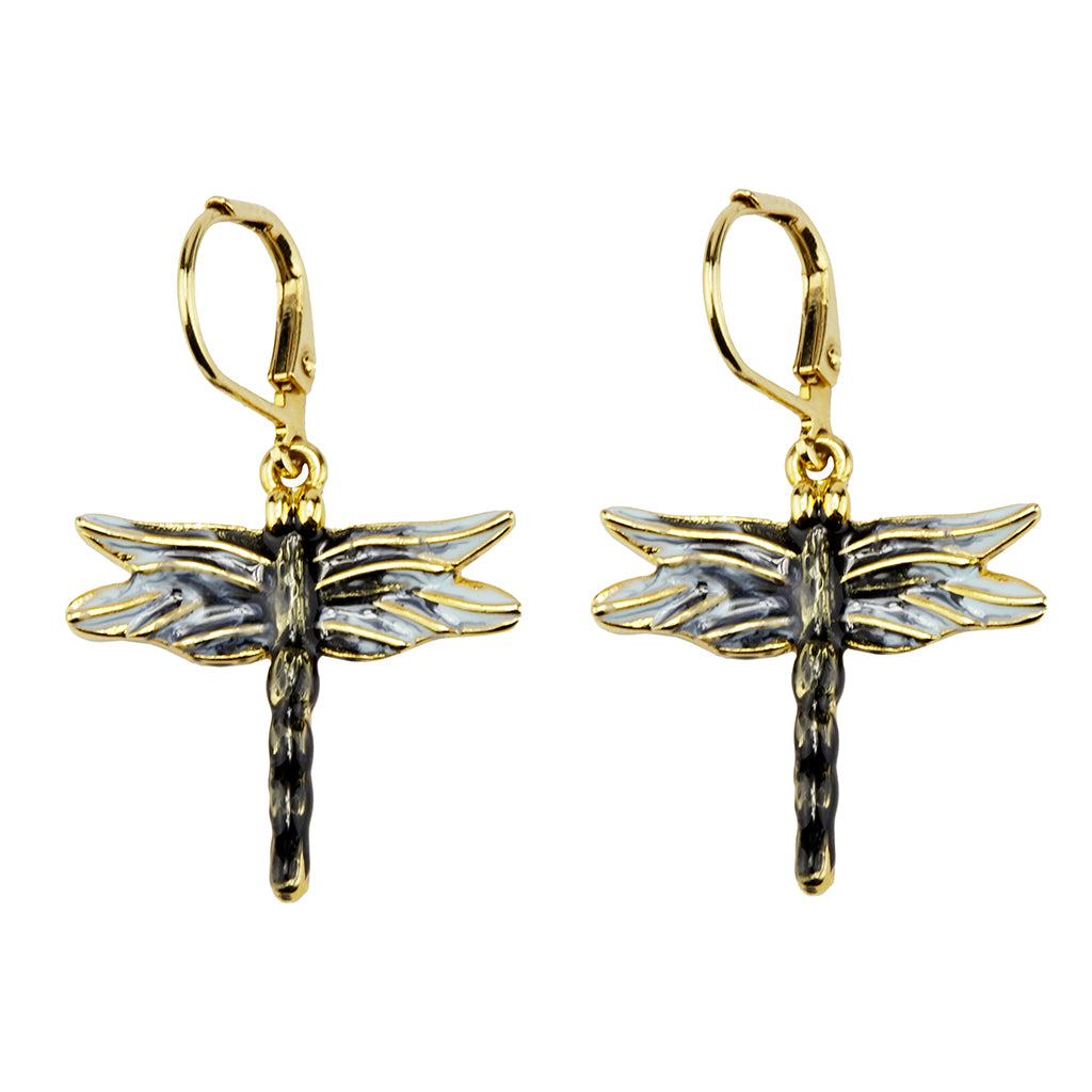 22k Gold-Plated Small Dragonfly Drop Earring