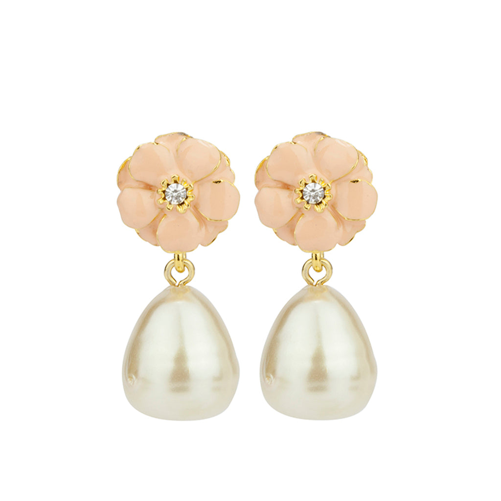 Gold Plated Pink Les Roses /w Pearl Small