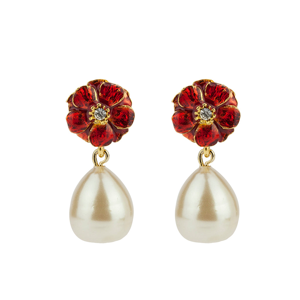 Gold Plated Red Les Roses with Small Pearl