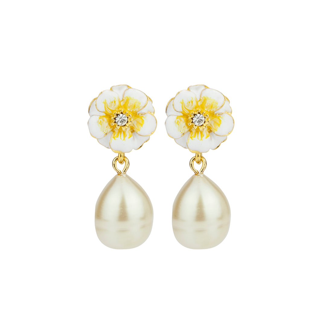 Gold Plated White/Yellow  Les Roses with Small Pearl