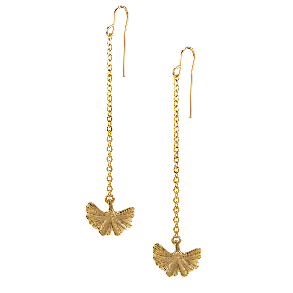 Goldtone Ginko Drop Earrings