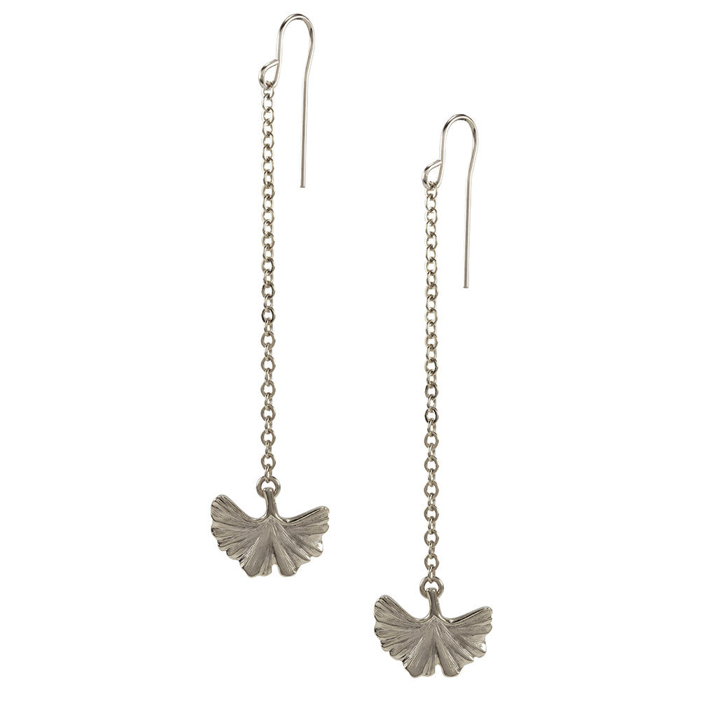 Silvertone Ginko Drop Earrings
