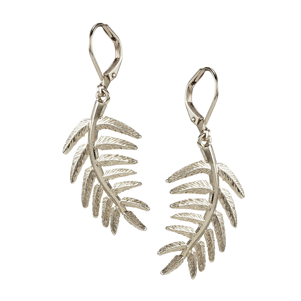 Silvertone Leverback Leaf Drop Earrings