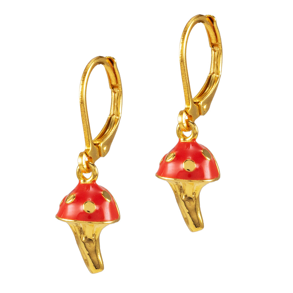 Goldtone Red Mushroom Drop Earrings
