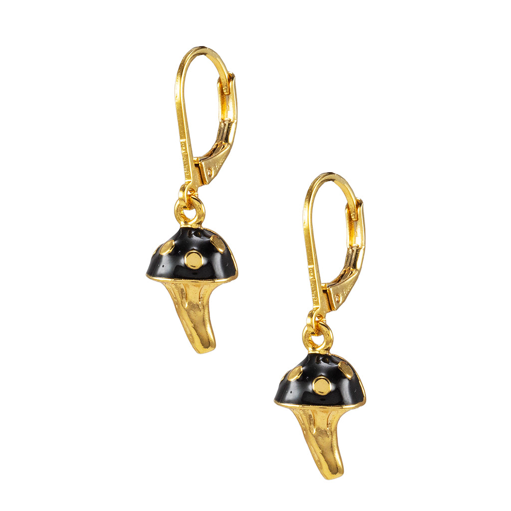 Goldtone Black Mushroom Drop Earrings