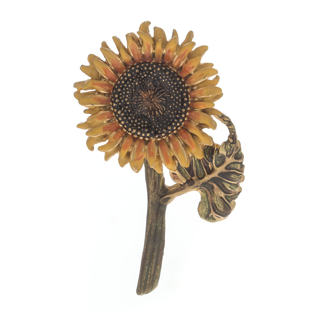 Botanica Mexicana Gold Tone Sunflower Pin