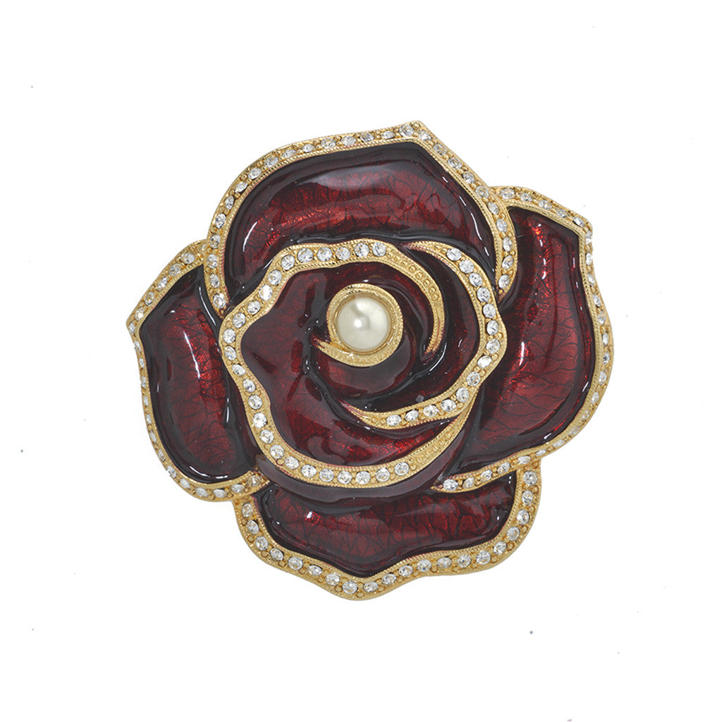 Garden Blooming Rose Pearl Center Brooch