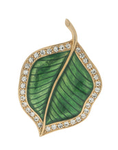 Jeweled Foliage Green Crystal Pin