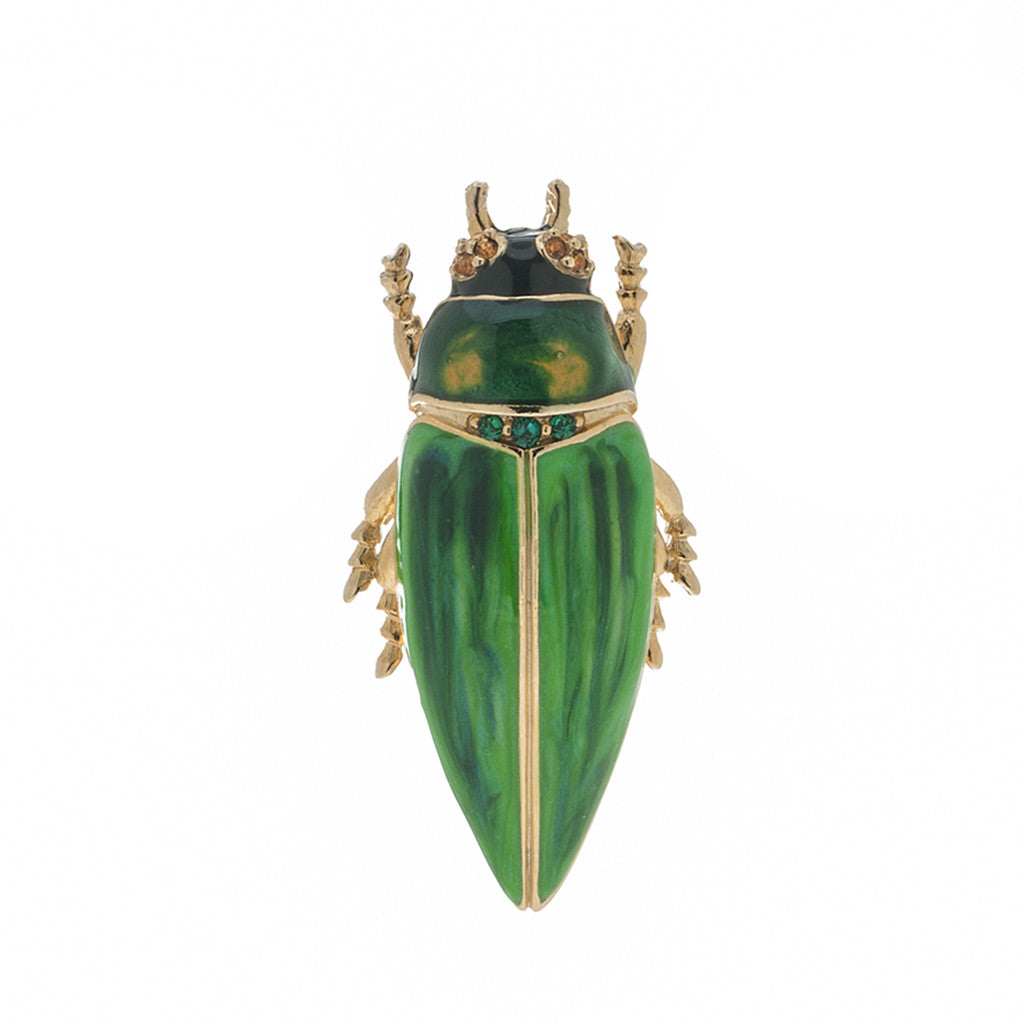Garden Green Beetle Brooch