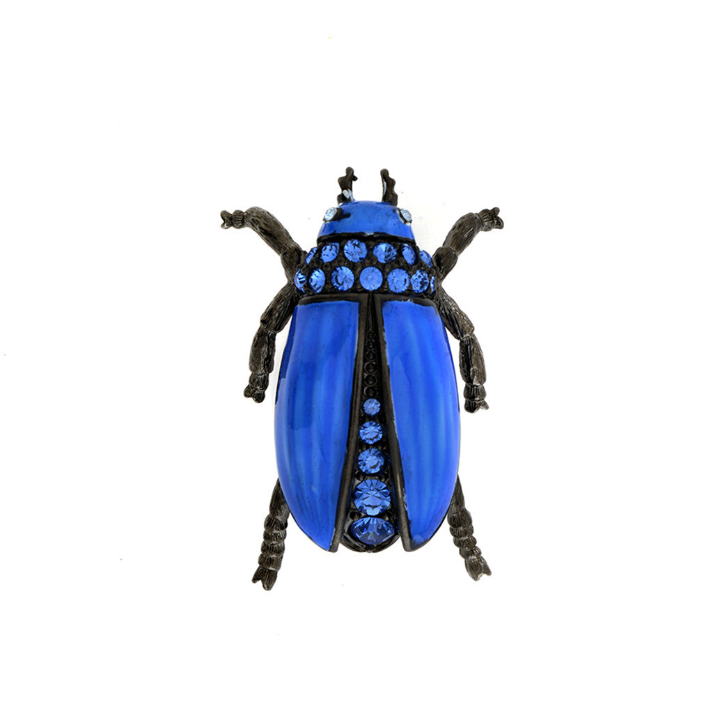 Garden Blue Beetle Brooch