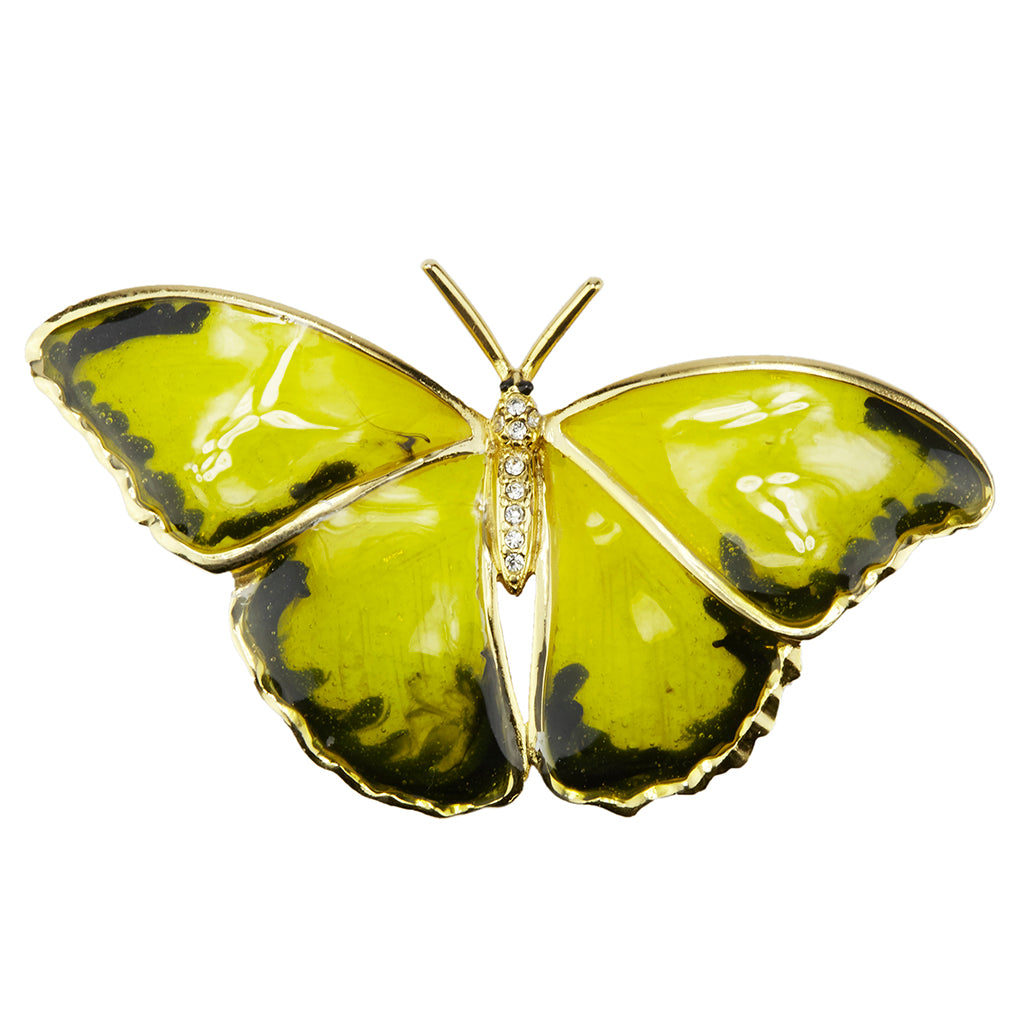22k Gold-Plated Enamel Butterfly Brooch
