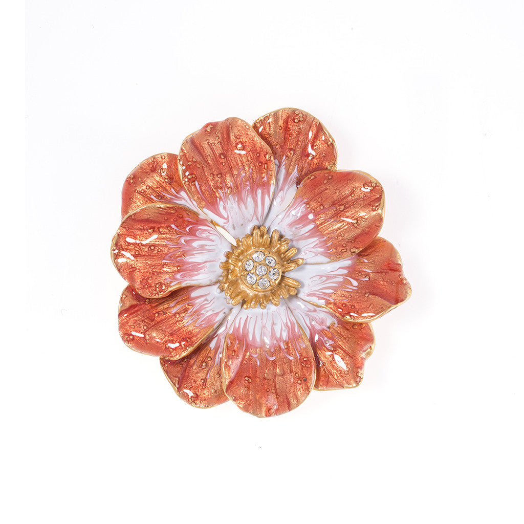 Double Rose Brooch with Melon Flower
