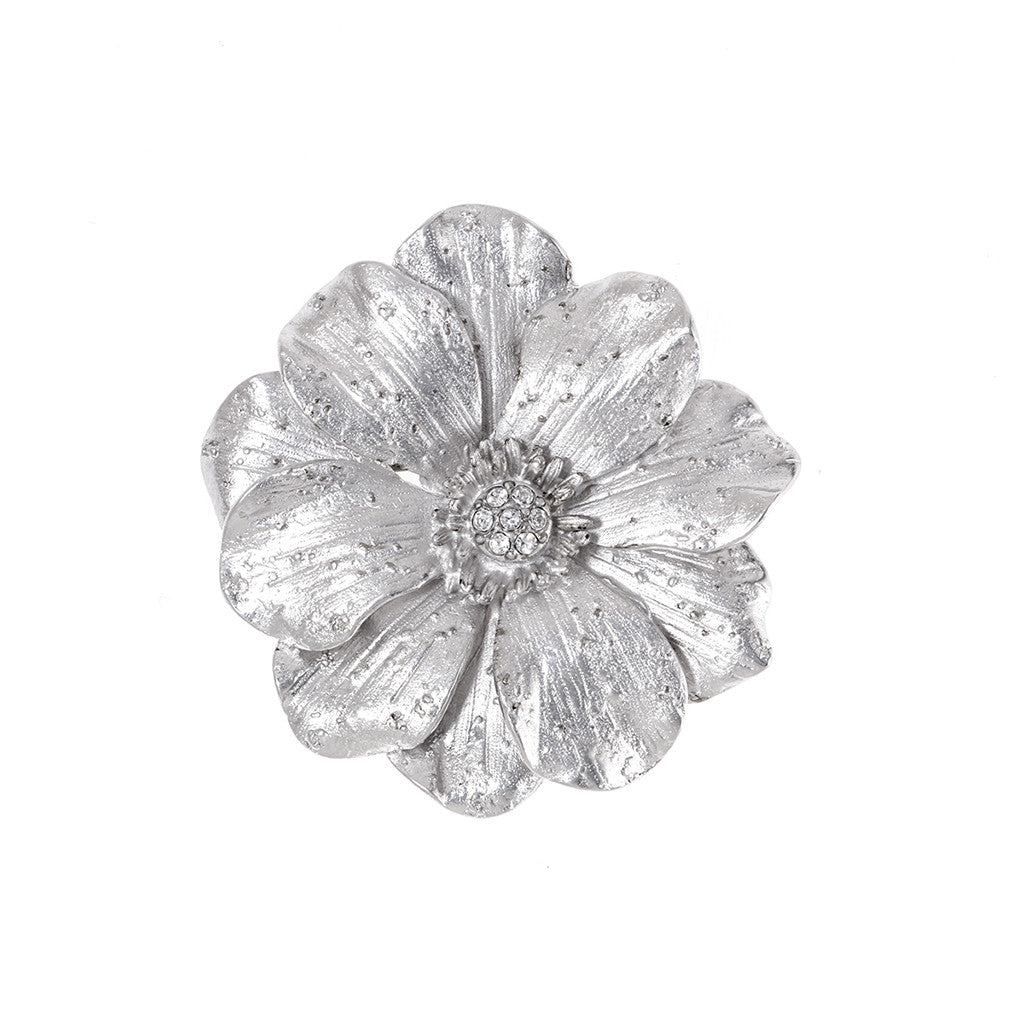Large Double Rose Silvertone Brooch