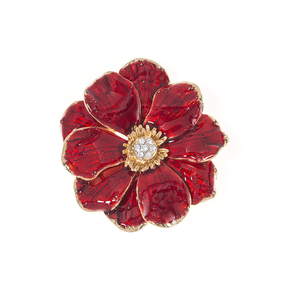 Double Rose Brooch with Red Flower