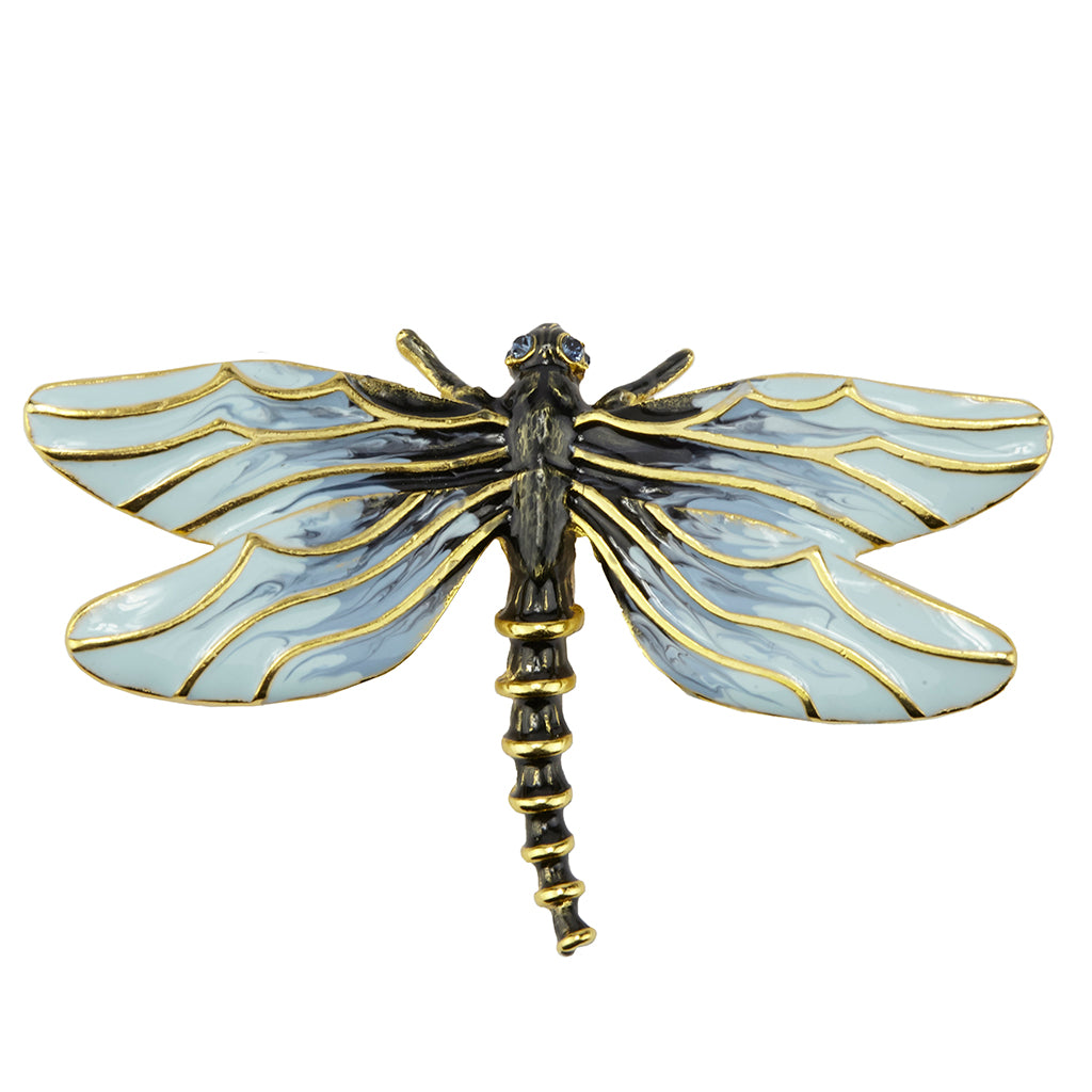 22k Gold-Plated Enamel Dragonfly Brooch