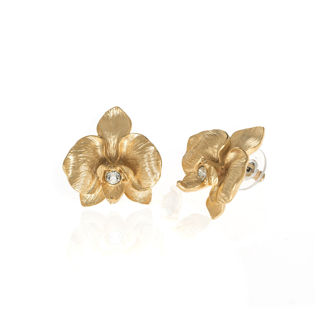 Orchid Goldtone Earring With Clear Crystal Pierced