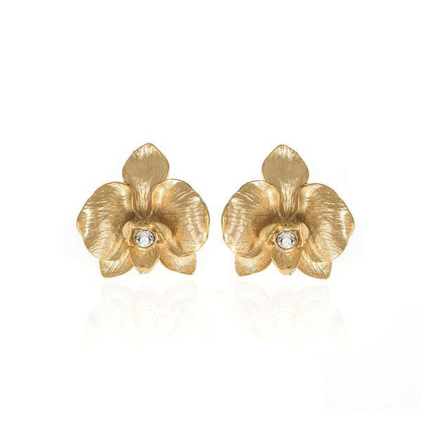 Orchid Goldtone Earring With Austrian Crystal