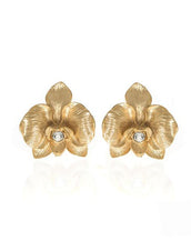 Orchid Goldtone Earring With Clear Crystal Clip