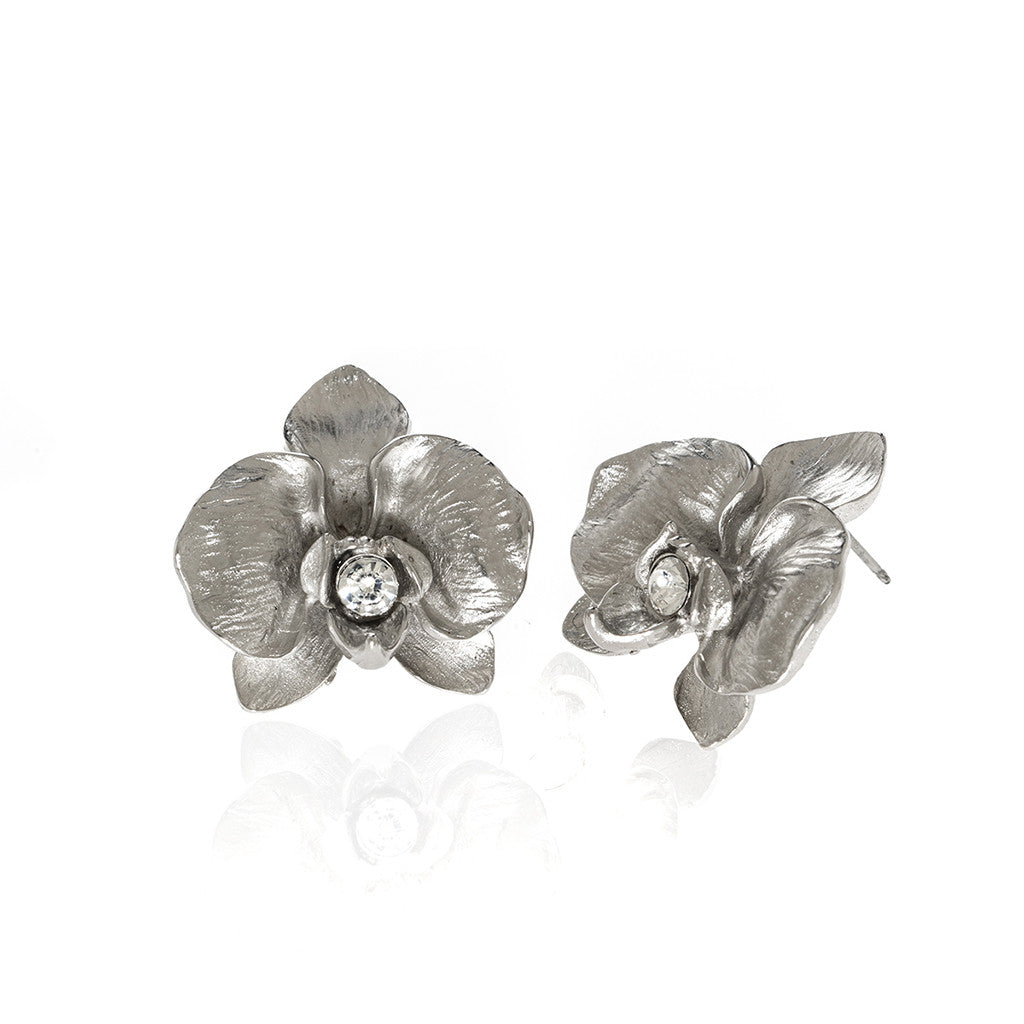 Orchid Silvertone Earring With Austrian Crystal