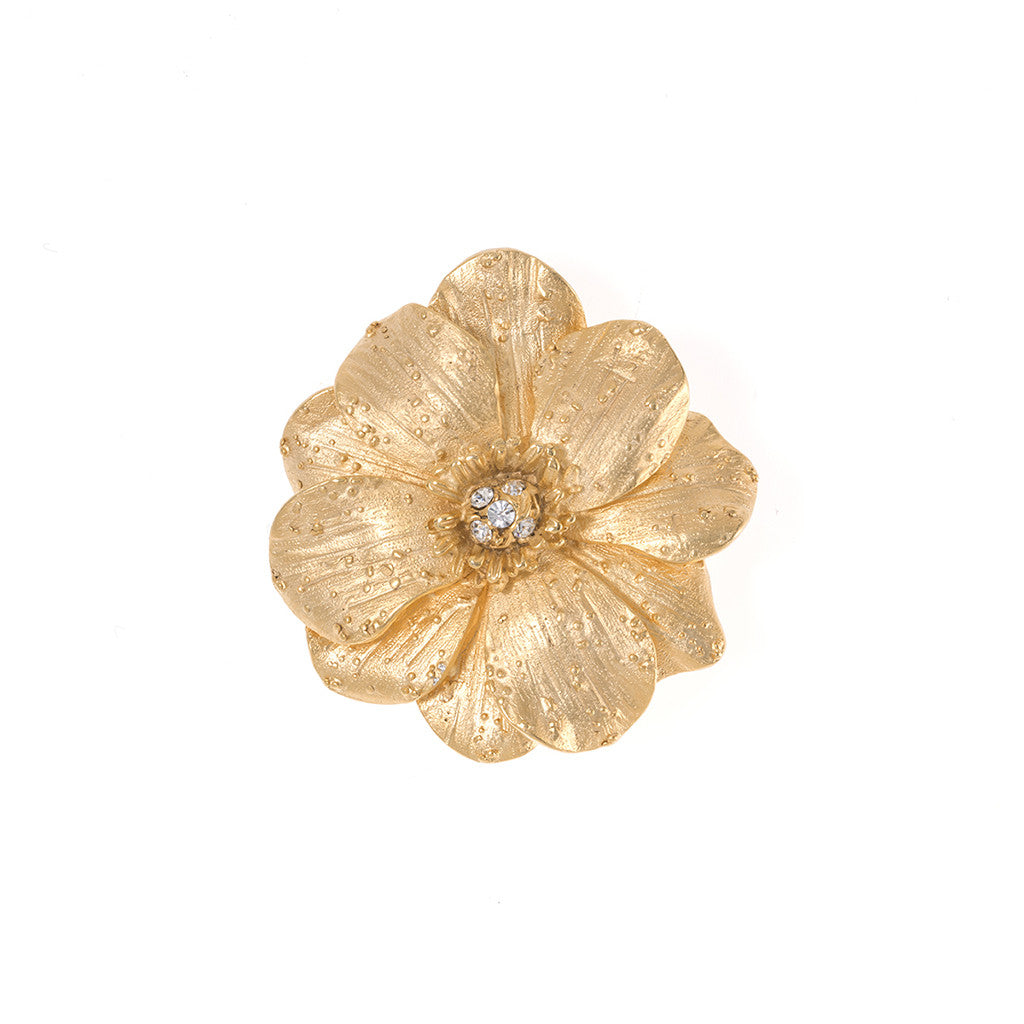 Double Rose Goldtone Brooch