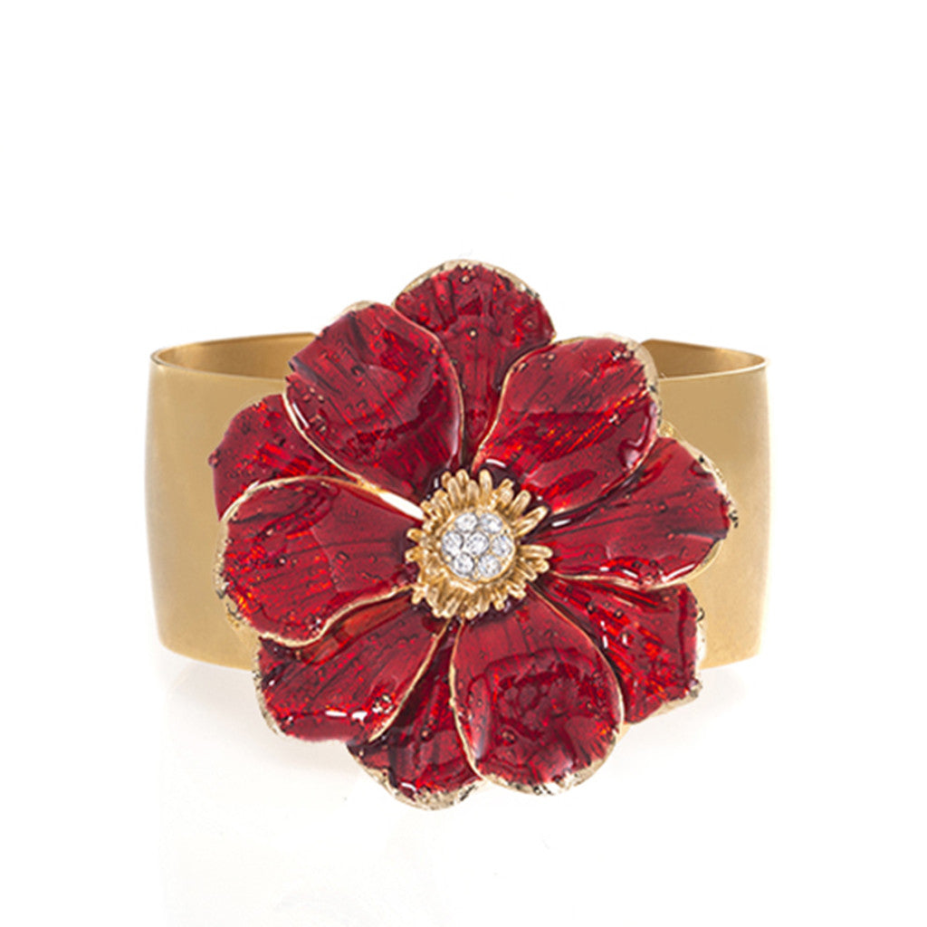 Goldtone Double Rose Bangle With Red Flower