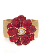 Goldtone Double Rose Bangle With Red Enamel
