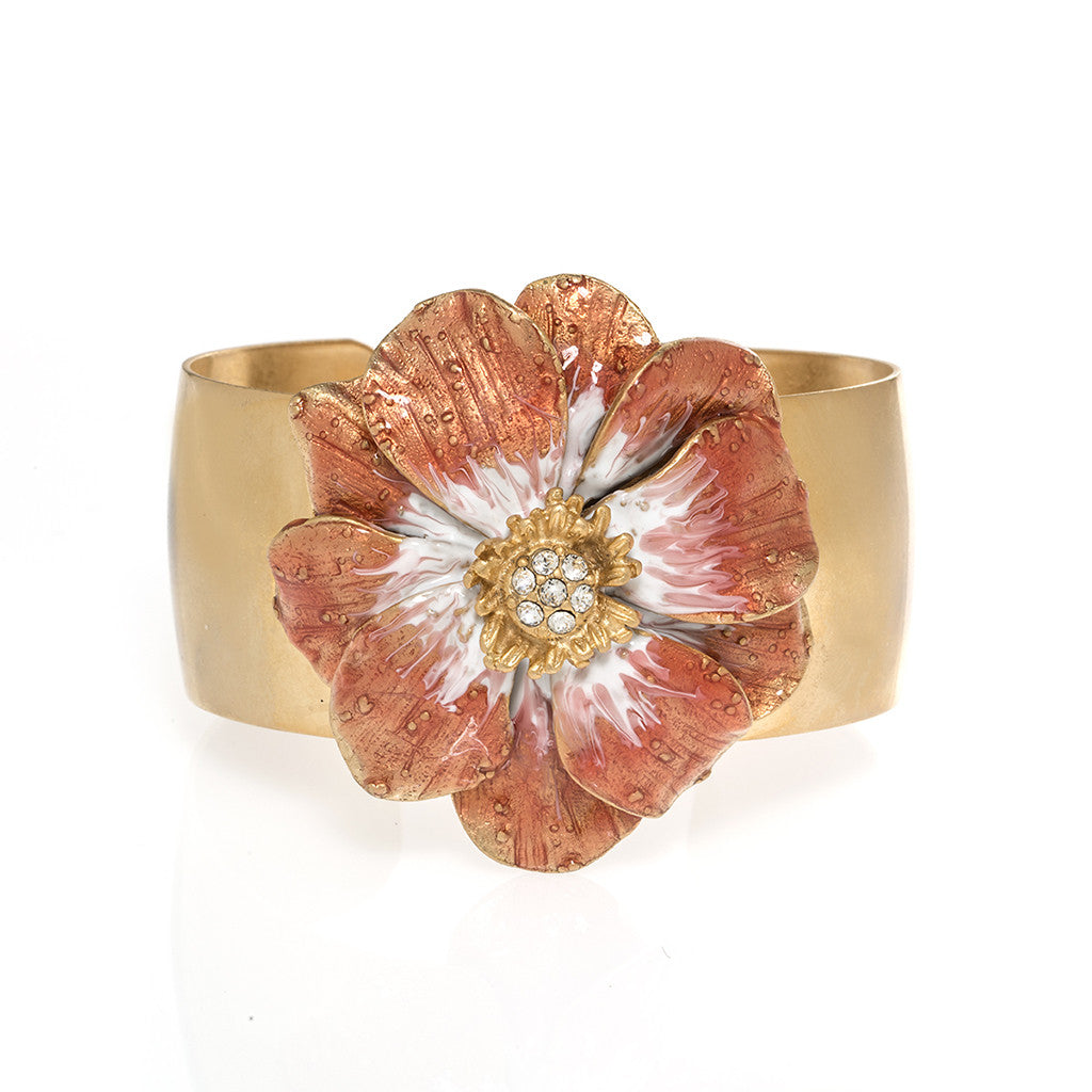 Goldtone Double Rose Bangle With Melon Enamel