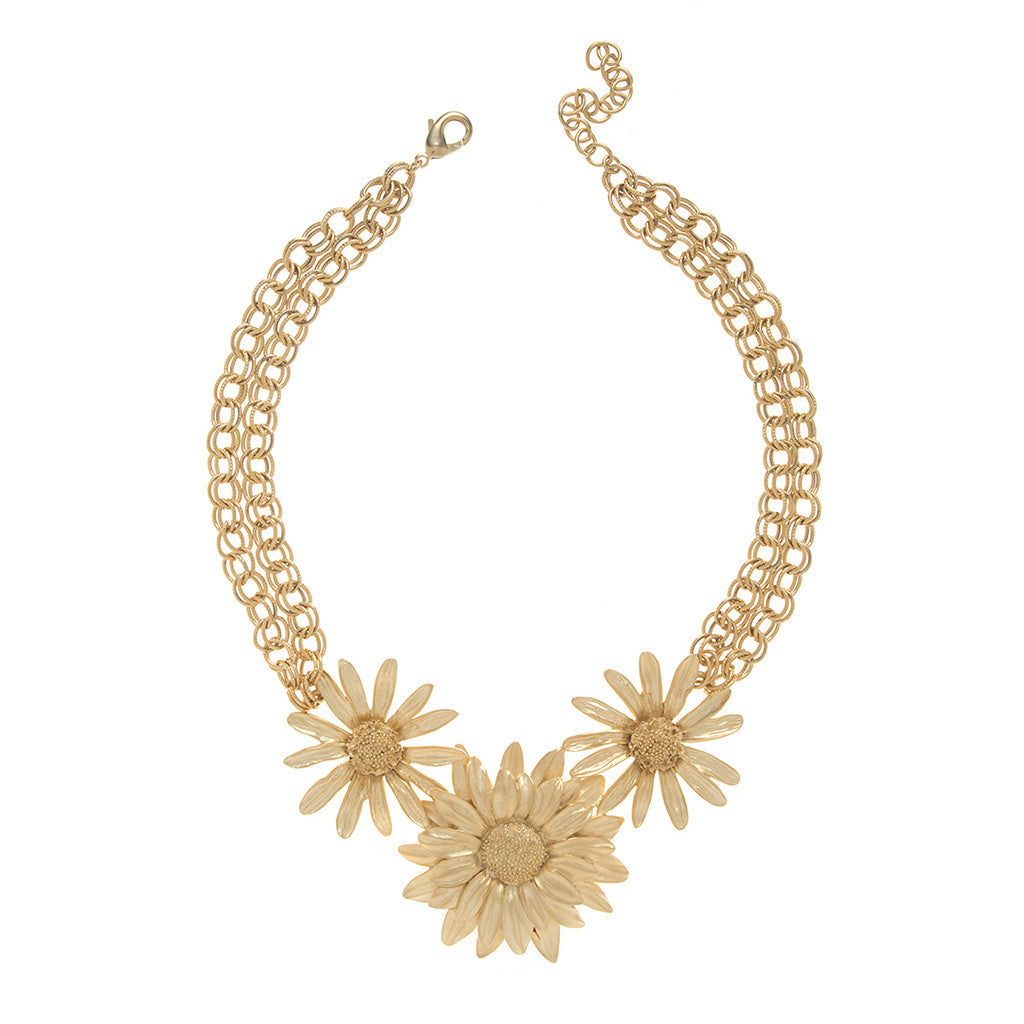 Botanica Mexicana Gold tone Daisy and Sunflower Necklace 16""