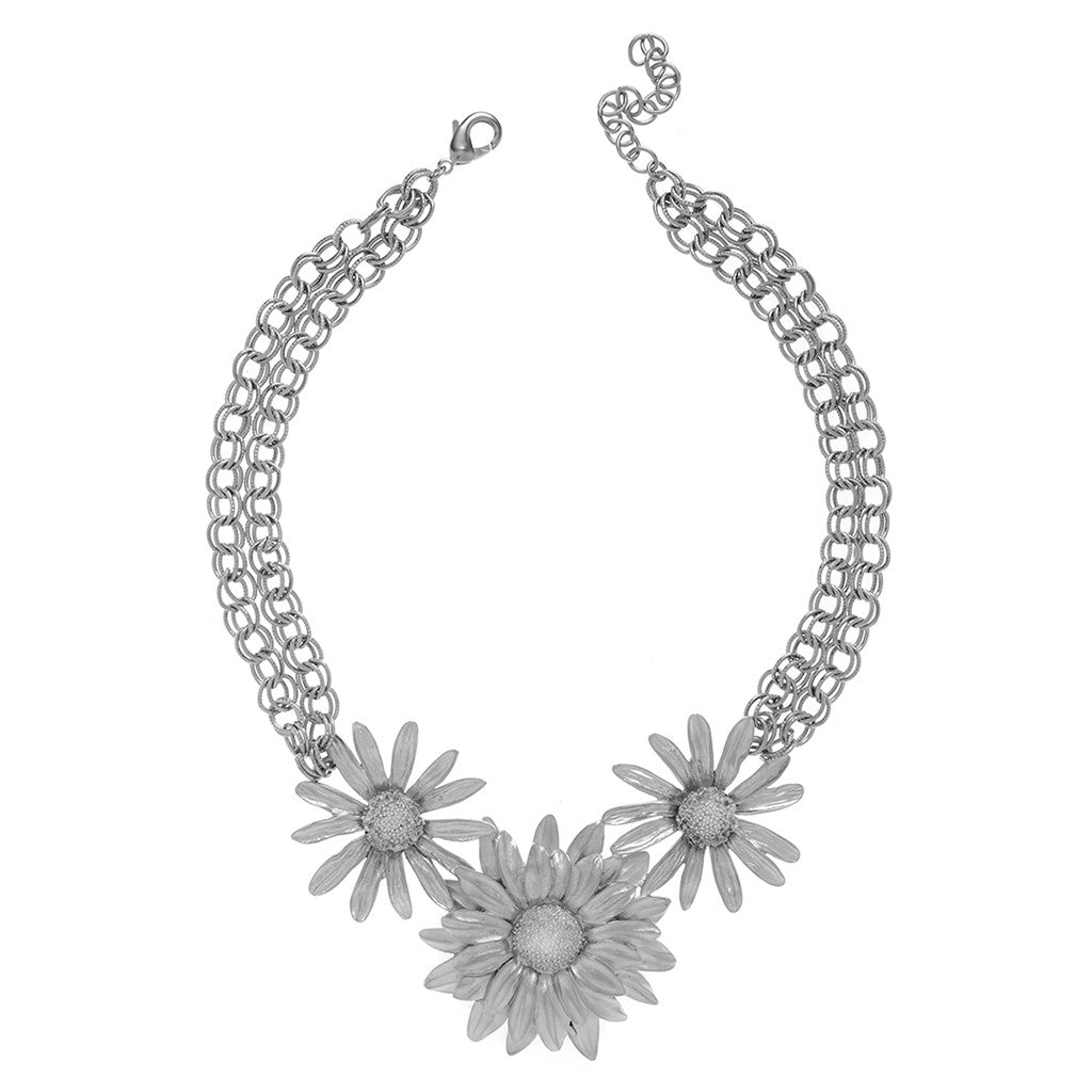 Botanica Mexicana Silvertone Daisy and Sunflower Necklace 16""