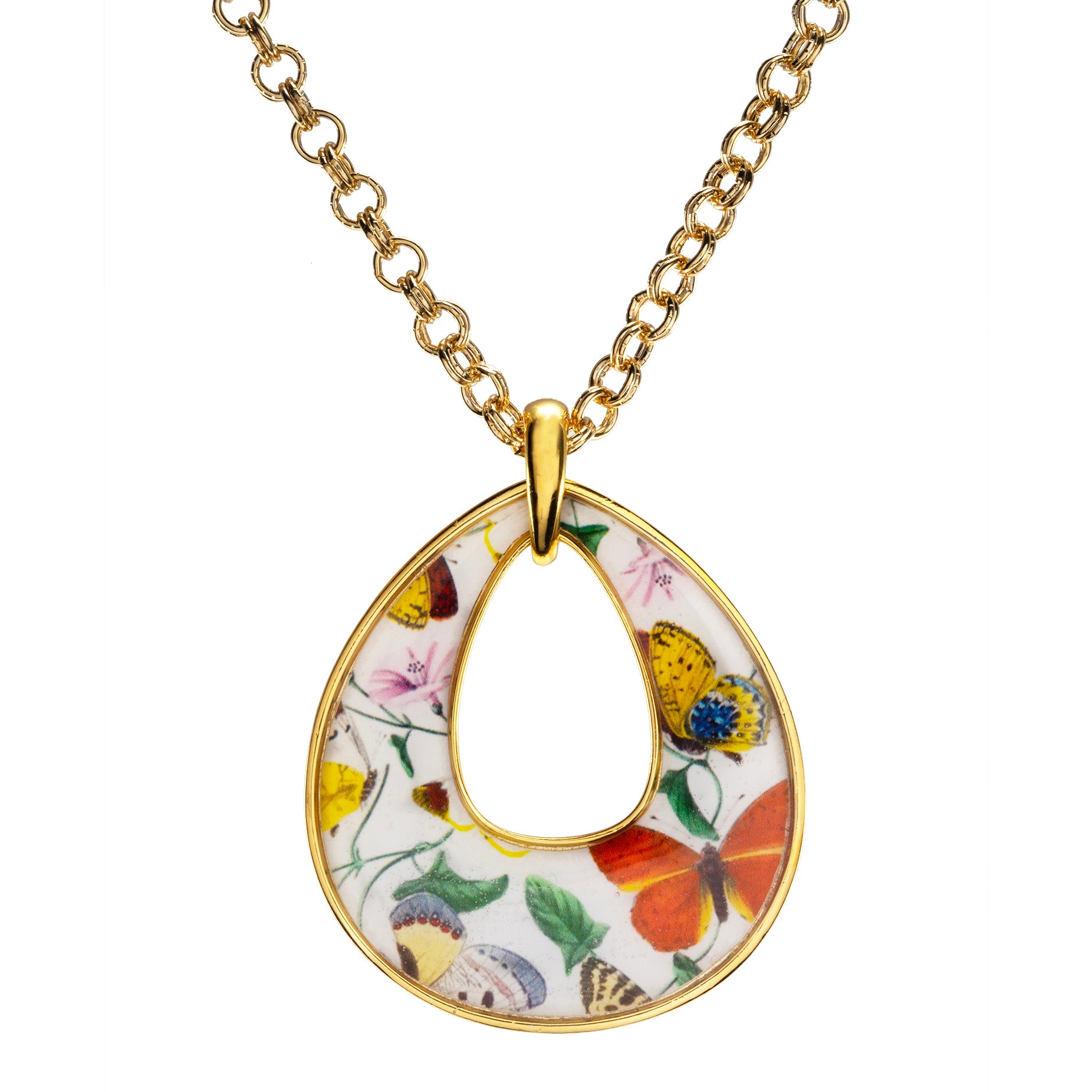 """Goldtone Butterfly Tear Drop Pendant with 18"""" Chain Necklace"""